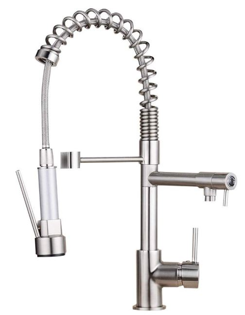 Ollypulse Solid Brass Brushed Nickel Kitchen Faucet