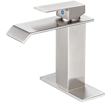 BWE Waterfall Single Handle Bathroom Sink Faucet