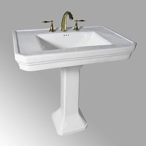 Portsmouth 22-inches Corner Pedestal Bathroom Sink